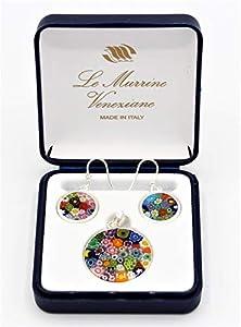 Juego de colgante y pendientes de 23 mm Murrina de cristal de Murano fabricado en Italia
