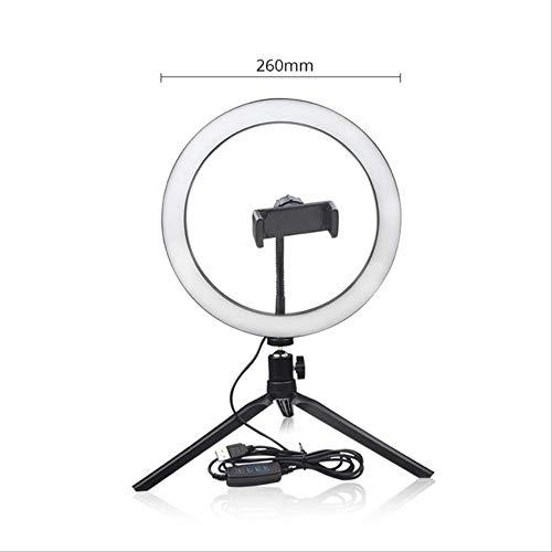 Espejo Con Luz Tocador Luz 3 Modos Fotografía Dimmable Led Selfie Ring Light Youtube Video Live Con Soporte Para Teléfono Conector Usb Trípode Trípode de soporte de 26 cm