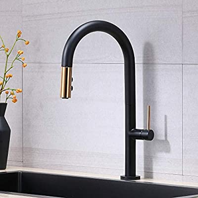VESLA HOME Mordern High Arc Matte Black and Gold Single Level Stainless Steel Pull Out Kitchen Faucet,Single Handle One Hole Solid Brass Kitchen Sink Faucets with Pull Down Sprayer.