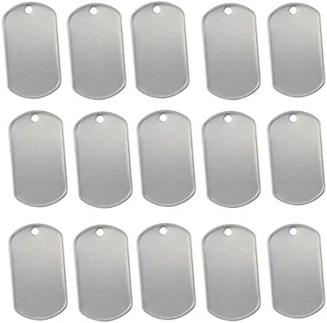 TinaWood 100PCS Blank Military Style Dog Tags for Stamping Engraving Shiny Stainless Steel Military product image