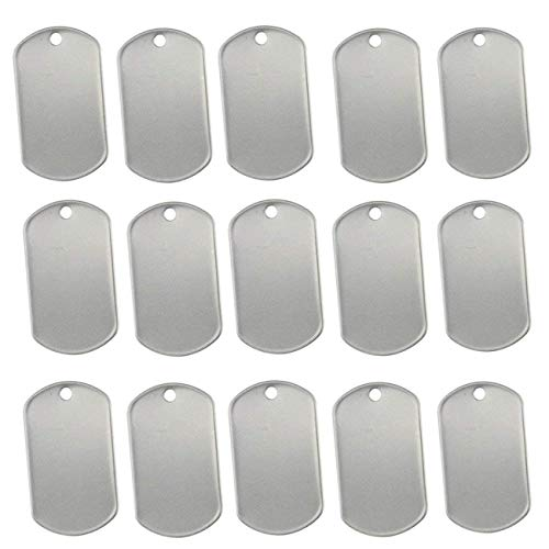 TinaWood 100PCS Blank Military Style Dog Tags for Stamping/ Engraving Shiny Stainless Steel Military...