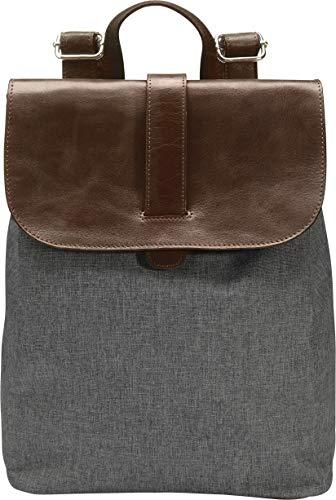 Enno by Batu Bag plecak damski z płótna/prawdziwej skóry | plecak miejski dla kobiet | plecak szkolny dla dziewcząt i nastolatków | torba na ramię, ciemnoszary (szary) - 8719992135615