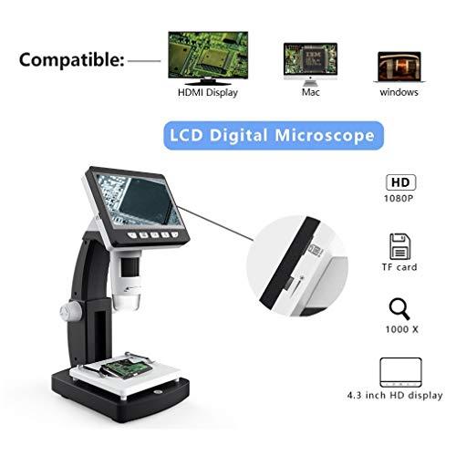 GYTOO Microscopio Digital LCD, Microscopio Digital Profesional LCD 1000x 4.3 Pulgadas HD 1080p Microscopio De Aumento De Escritorio Portátil Resolución 2048 * 1536