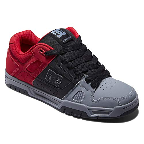 DC mens Stag Skate Shoe, Red/Black/Grey, 10 US