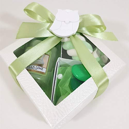 bomboniere Candele profumate Set Regalo Scatola Completa di Confetti e Candela votivo (Set Colore Verde)