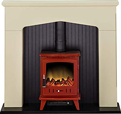 Adam Ludlow Stove Suite in Stone Effect with Aviemore Electric Stove in Red Enamel, 48 Inch