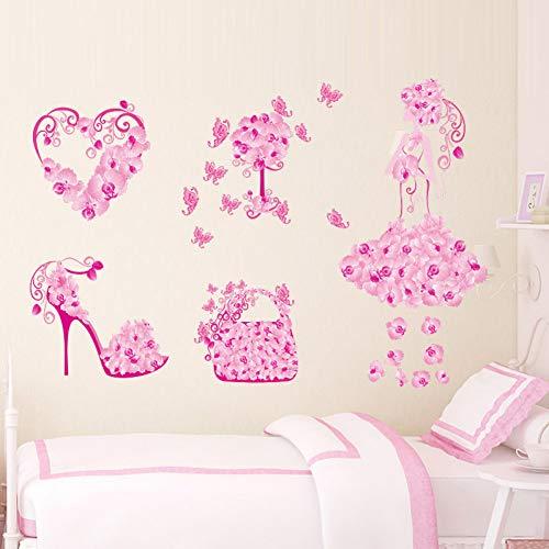 Colorido bolso de niña de las flores ZapatosPegatinas de pared Fior Habitaciones para niños Corazón Tatuajes de pared Decoración de dormitorio de niña Cartel mural