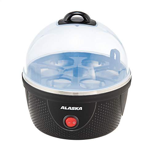 ALASKA Eierkocher EB 1380 | Schwarz | Heizplatte aus Edelstahl | autom. Temperaturkontrolle | 380 W