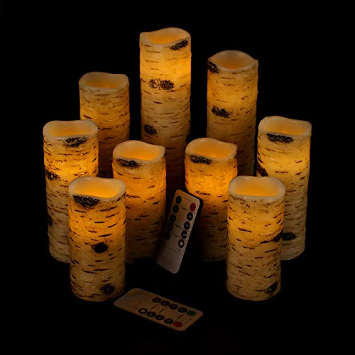 Vinkor Flameless Candles Battery Operated Candles Birch Effect 4' 5' 6' 7' 8' 9' Set of 9 Real Wax Pillar LED Candles with 10-Key Remote Control 2/4/6/8 Hours Timer