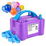 Electric Air Balloon Pump, AGPTEK 110V 600W Purple Portable Dual Nozzle Inflator/Blower for Party Decoration,with 2 Balloon Tying Tool