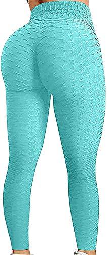 Famous TIK Tok Leggings, Butt Lift Leggings for Women, High Waist Tummy Control Bubble Hip Lift Workout Running Tights Lake Blue 2XL