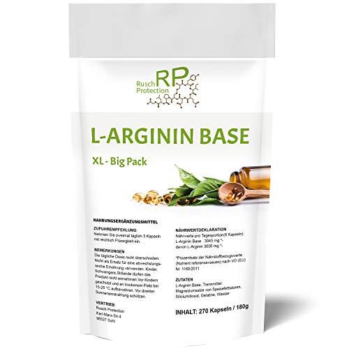 L-Arginin Base XL - Big Pack - 270 Kapseln, Hochdosiert in Premium Qualität - 99{a84362036668e9cd69d5ed0813792d64adc5e28b3df2df9c00c94b50d3a3c76a} reiner Wirkstoff aus pflanzlicher Herstellung, hohe Bioverfügbarkeit und optimaler PH-Wert