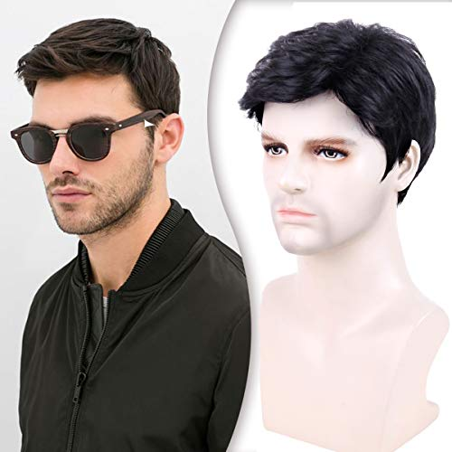 Creamily Men's Short Black Wigs Male Synthetic Short Wigs Layered Full Replacement Hair Daily Wear Party Male Wigs with Cap Men Short Wig Father's Day Gifts for Dad Hair Black