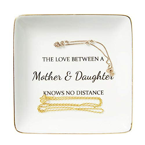 Ring Trinket Dish, Mother Gifts from Daughter or Son - The Love Between A Mother and Daughter Knows No Distance, Gift Ideas for Mother's Day Birthday