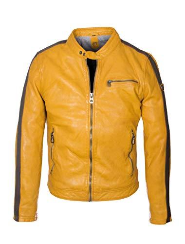 Kurze Herren Racer Lederjacke mit Kontrastfarbe Streifen an Armen - GBFlori LAROV in gelb (Gelb, XL)