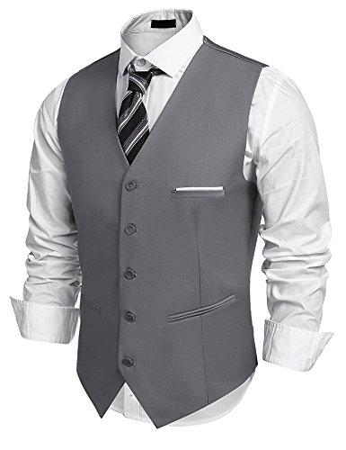 Burlady Herren Western Weste Herren Anzug Weste V-Ausschnitt Ärmellose Westen Slim Fit Anzug Business Hochzeit, Grau, M