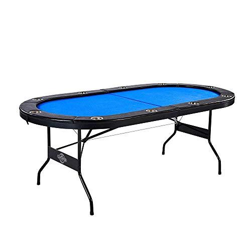 Lancaster 10 Player Blue Felt Casino Style Folding Poker Game Table
