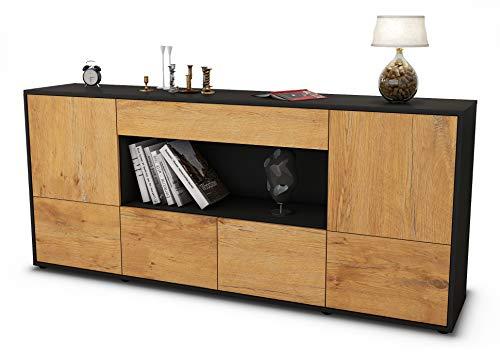 Stil.Zeit Sideboard ELSA/Korpus anthrazit matt/Front Holz-Design Eiche (180x79x35cm) Push-to-Open Technik & Leichtlaufschienen