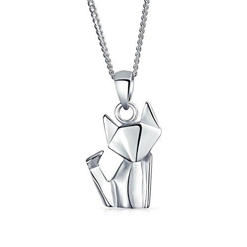 3D Kleine Origami Katze Kätzchen Kätzchen HaúStier Anhänger Halskette Für Frauen Für Teen Poliert 925 Sterling Silber