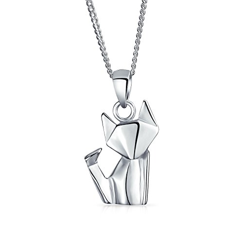 Origami 3D Petit Chaton Chat Animal Collier Pour Femme Ados Argent 925 Sterling Poli