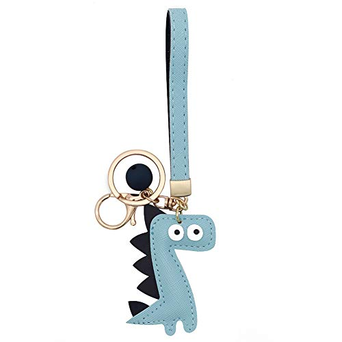 MUAMAX Dinosaur Key Chain Handmade Leather Key Holder with Wrist Lanyard Cute Key Finder Handbag Decoration Accessories Purse Pendant Fashion Item Car Key Charm Gift for Her ...