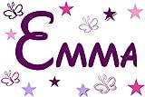 Wandtattoo Kinderzimmer Wandschnörkel® 2810 Namen Mix ++Aufkleber mit dem Namen Ihrer Kindes 11 teilig Sterne und Schmetterlinge, Geschenk Türschild Jungen Mädchen