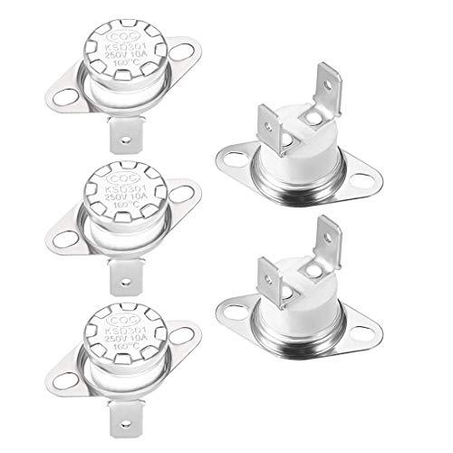 Termostato DyniLao KSD301 160 ° C / 320 ° F 10A Interruptor de temperatura de disco de ajuste automático NC normalmente cerrado para microondas, horno, cafetera, 5 piezas