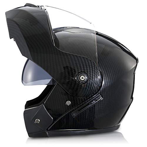 Casco Protector de Motocicleta,Casco Integral Moto Lente Doble Antivaho Forro Extraíble Lavable Certificación ECE Casco Integral para Moto A,XL60~61CM