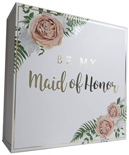 Blanche Maid of Honor and Bridesmaid Proposal Box Combo Set with Gold Foiled Text | Set of 5 Empty Boxes | Perfect for Will You Be My Bridesmaid MOH Gift and Wedding Present