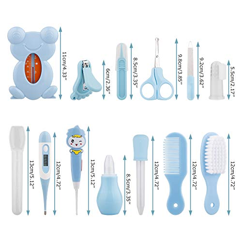Okngr 13 Pcs Baby Health And Grooming Kit, Baby Grooming Kit Newborn Healthcare Kits Include Nail Clipper Infant Hair Brush Comb and More with Convenient Storage Bag Nursery Care Kit for Babies, Blue
