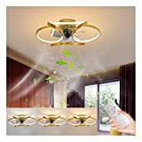 JYDQM Ceiling Fan with Lights,45W Ceiling Lamp 3 Color 3 Files Wind Speed Remote Control Dimmable Modern Acrylic Can Timing for Bedroom Living Room,Gold