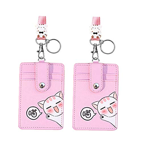 Cute Neck Pouch, Student ID Credit Card Case Holder Cartoon Shield Panda/Cat (Pink 2pcs)