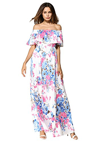 DUNEA Women's Boho Floral Print Off Shoulder Maxi Casual Dress with Short Sleeves