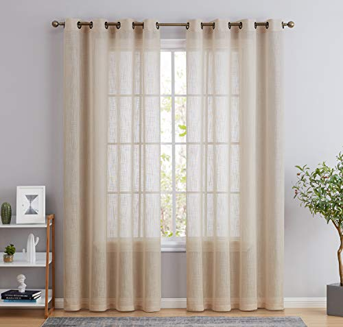 HLC.ME Abbey Faux Linen Textured Semi Sheer Privacy Sun Light Filtering Transparent Window Grommet Short Thick Curtains Drapery Panels for Bedroom & Office, 2 Panels (54 W x 72 L, Beige)
