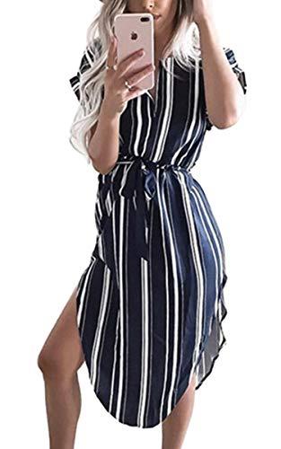 ECOWISH Sommerkleider Damen Kurzarm V-Ausschnitt Strand Blumen Kleider Abendkleid Knielang Navy Blau L