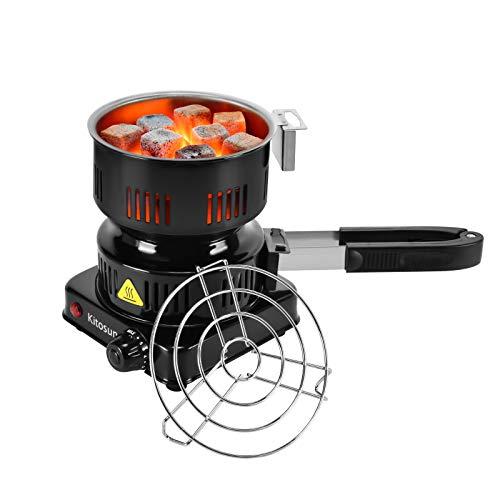 Hornillo Cachimba - Kitosun Super Calidad Burnador de carbones de cachimba eléctrica Con bandeja móvil y parrilla 600W más seguro más seguro y duradero Para Cocina Café Barbacoas de Carbon Y C