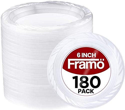 6 Inch Disposable Clear Plastic Plates In Bulk By Framo for Party and Dinner, And For Any Occasion, Microwaveable, BBQ, Travel, and Events (6 Inch 180 pack)