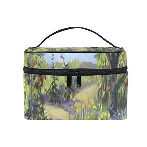 Sac de maquillage Jardin d'été Sac cosmétique Grand sac de toilette portable pour femmes/filles Voyage