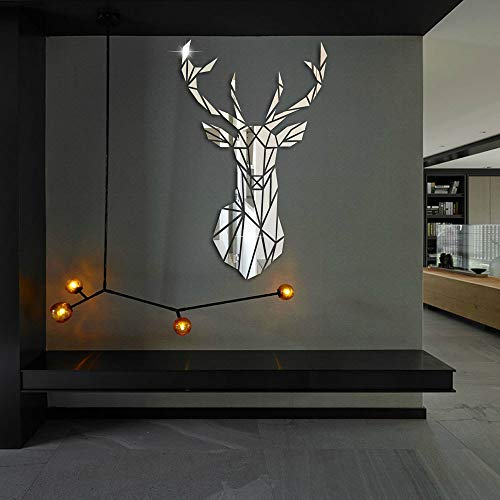aizhinuo 3D Tridimensional Pegatinas de Pared DIY Espejo de Pared de Ciervo Etiqueta de la Pared del Vinilo Para Fondo de Pared Sofá Sala de Estar Oficina de Decorativo (Plata 43 * 26cm)