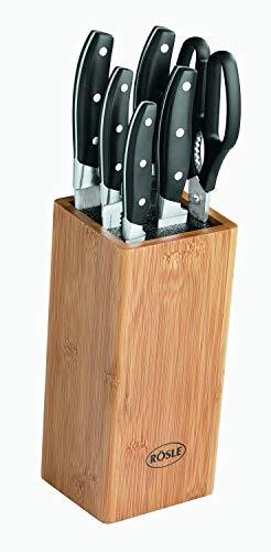 RÖSLE CUISINE Bürsten Messerblock bestückt 7-tlg., Hochwertiger Messerblock aus Bambusholz mit 5 scharf geschliffenen Messern und Küchenschere, Klingenspezialstahl, Fingerschutz