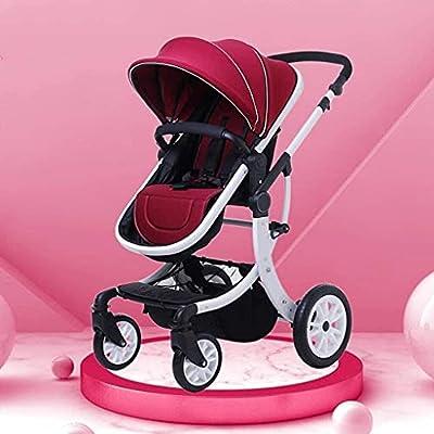 Cochecito de bebé, espacio de almacenamiento grande, arnés de 5 puntos, cochecito de bebé plegable anti-shock Springs High View Pray Baby Stroller, M (Color : Style 1)