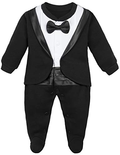 Lilax Baby Boy Gentleman Tuxedo Footie Christmas Holiday Outfit with Bow Tie (3 Months, Black)