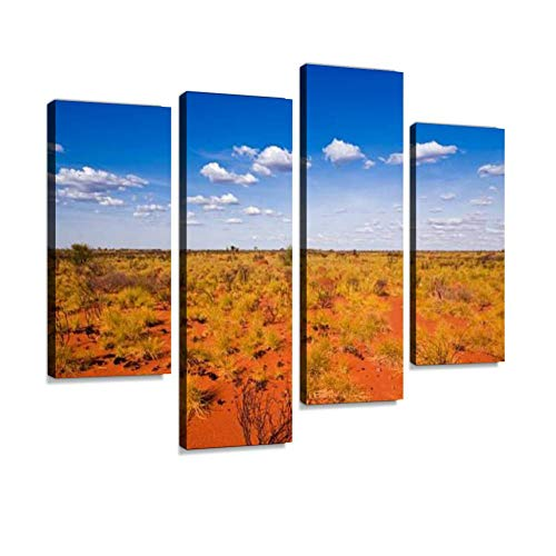 Outback Landscape Showing The Blue Sky and Orange Sands Canvas Wall Art Hanging Paintings Modern Artwork Abstract Picture Prints Home Decoration Gift Unique Designed Framed 4 Panel