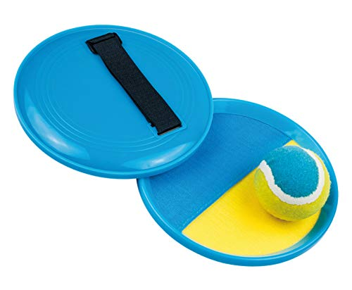 Idena 7408462 Klettballset mit 2 Handfängern und 1 Ball, Ballspiel für Kinder, ideal im Sommer für Garten, Park oder Strand