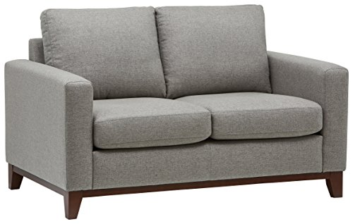 Rivet North End Modern Wood Accent Loveseat Sofa Couch, 58.7'W, Grey Weave