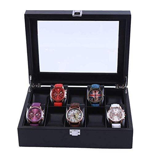 Suytan Cajas de Alenamiento de Relojes Caja de Reloj de 10 Ranuras Bandeja de Pulsera Caja de Alenamiento de Reloj Superior de Vidrio Organizador de Reloj Exhibición de Joyería de Cuero Sintético Col