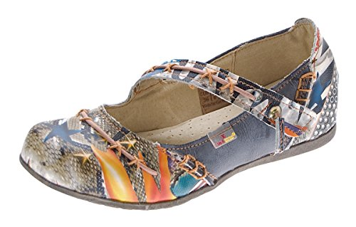 TMA Leder Damen Ballerinas Echtleder Schwarz Muster variieren Comfort Schuhe 5085 Sandalen Gr. 36
