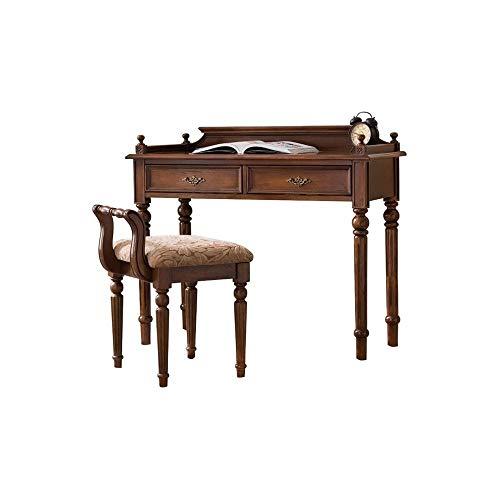 Faiol Mesa de madera maciza americana, mesas de vestir con taburete, muebles de estudio simple, escritorio escritorio escritorio de computadora, escritorio marrón retro americano Adecuado para el hoga