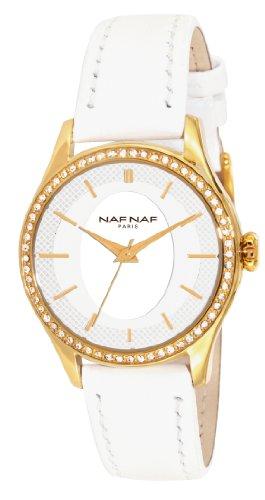 Naf Naf N10192G-805 - Reloj de Cuarzo para Mujer, con Correa de Cuero, Color Blanco