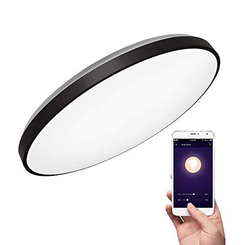 Deckenleuchte mit Alexa Smart WiFi Deckenlampe(schwarz), 36W, Ø 50CM, dimmbar, steuerbar via App,kompatibel mit Amazon Alexa (Echo, Echo Dot) und Google Home